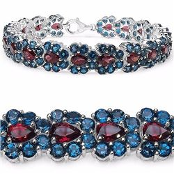 Sterling Silver Rhodolite and London Blue Topaz Bracelet