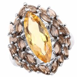 Sterling Silver Citrine and Smoky Quartz Ring