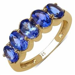 Sterling Silver 5 Stone Tanzanite Ring