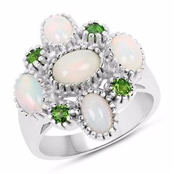 Sterling Silver Ethiopian Opal and Chrome-Diopside Ring