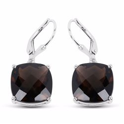 Sterling Silver Checkerboard Smoky Quartz Earrings