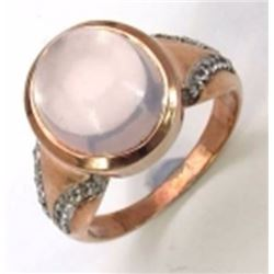 Sterling Silver Cabochon Rose Quartz Ring