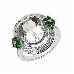 Sterling Silver Green Amethyst and Chrome-Diopside Ring