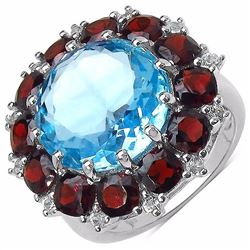 Sterling Silver Blue Topaz and Garnet Ring