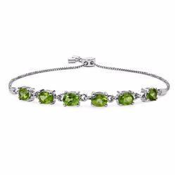 Sterling Silver Peridot Adjustable Bracelet