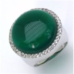 Sterling Silver Cabochon Green Onyx Ring
