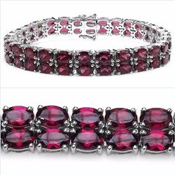Sterling Silver Double Row Rhodolite Bracelet