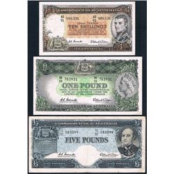 Australia, KGVI-QEII, Ten Shillings - Five Pounds, Accumulation, 1954-61 (R.16, 34a, 50), gFine-gVF
