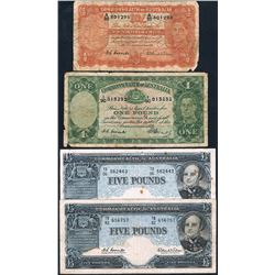 Australia, KGVI-QEII, Ten Shillings - Five Pounds, Accumulation (R.15, 31, 50 (2)), 1949-60, VG-gFin