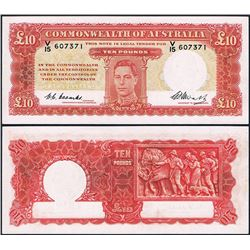 Australia, KGI, Ten Pounds, Coombs/Watt, 1949, (R.60F), First Prefix, V15/607371, gEF