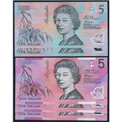 Australia, QEII, Five Dollars, Accumulation (R.214, 218a), 1992-6, Unc