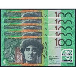 Australia, QEII, One Hundred Dollars, Stevens/Henry, 2010 (R.621bF) First Prefix, AA10, Unc