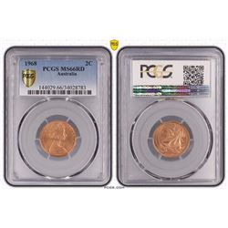 Australia, QEII, Two Cents, 1968, PCGS MS66RD
