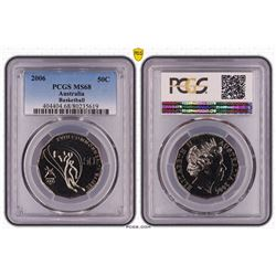 Australia, QEII, Fifty Cents, 2006, Commonwealth Games, Basketball, PCGS MS68