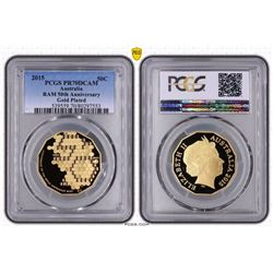 Australia, QEII, Proof Fifty Cents, 2015, Gold Plated 50th Anniversary, PCGS PR70DCAM