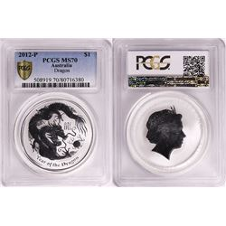 Australia, Perth Mint, Proof Silver 1oz Year of the Dragon, 2012, PCGS MS70