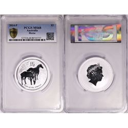 Australia, Perth Mint, Silver 2oz Year of the Horse, 2014, PCGS MS68
