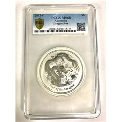 Australia, Perth Mint, Proof Silver 5oz Year of the Dragon, 2012, PCGS MS68