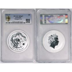 Australia, Perth Mint, Proof Silver 5oz Year of the Dragon, 2012, PCGS MS67