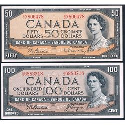 Canada, QEII, Fifty - One Hundred Dollars, (P.81b, 82a), 1954, VF