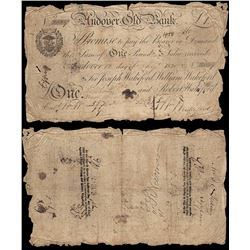 Great Britain, Andover Old Bank, Wakeford, One Pound (P.NL), 1820, Good