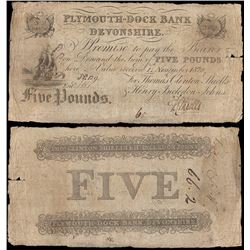 Great Britain, Plymouth-Dock Bank, Devonshire, One Pound (P.NL), 1820, Good