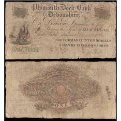 Great Britain, Plymouth-Dock Bank, Devonshire, One Pound (O.683c), 1823, Fine