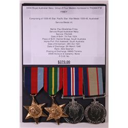 WWII Royal Australian Navy Group of four Medals Impressed to PA2444 P.B. Finey