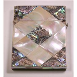 Beautiful Vintage Mother of Pearl & Paua Shell Card Case