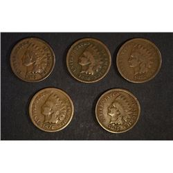5- INDIAN HEAD CENTS: 1874, 3-1875, & 1868