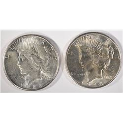 (2) 1923-S PEACE SILVER DOLLARS