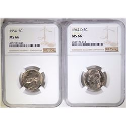 1942-D & 54 JEFFERSON NICKELS, NGC MS-66
