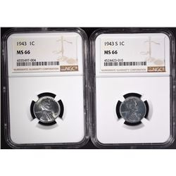 """1943 & 1943-S LINCOLN """"STEEL""""  CENTS NGC MS66"""