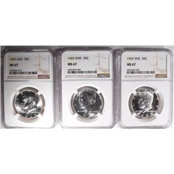 3-1965 SMS KENNEDY HALF DOLLARS, NGC MS-67