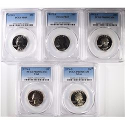 5- PROOF WASHINGTON QUARTERS, ALL GRADED BY PCGS