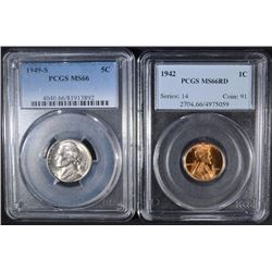 1942 LINCOLN CENT & 1949-S JEFERSON NICKEL, PCGS