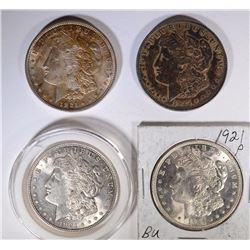 4 - 1921 MORGAN DOLLARS, CIRC or BETTER