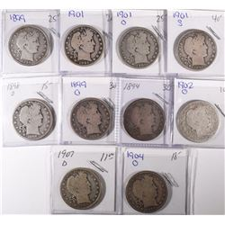 10 DIFFERENT BARBER HALF DOLLARS GOOD-VG/FINE