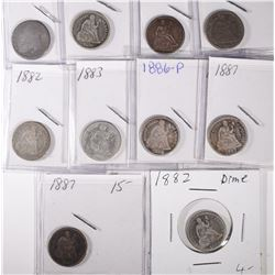 10 SEATED LIBERTY DIMES & 1-BUST DIME