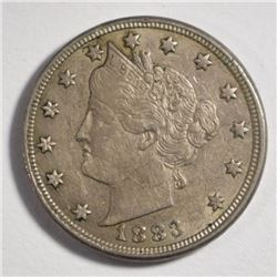 "1883 LIBERTY NICKEL ""WITH CENTS"", XF/AU"