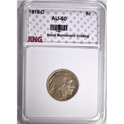 1918-D BUFFALO NICKEL RNG AU