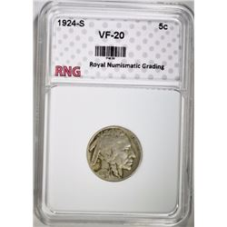 1924-S BUFFALO NICKEL RNG VF