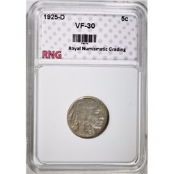 1925-D BUFFALO NICKEL RNG VF