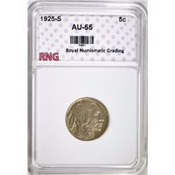 1925-S BUFFALO NICKEL RNG AU BU