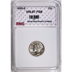 1935-S MERCURY DIME RNG SUPERB GEM FSB