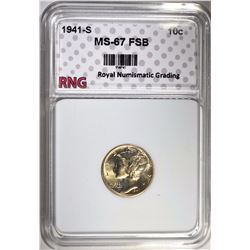 1941-S MERCURY DIME RNG SUPERB GEM FSB