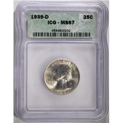 1939-D WASHINGTON QUARTER ICG MS-67