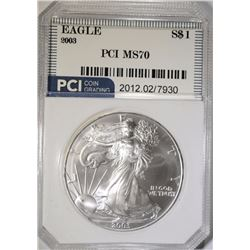 2003 AMERICAN SILVER EAGLE PCI PERFECT GEM BU