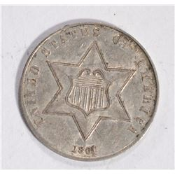1861 3-CENT SILVER, AU ORIGINAL TONING