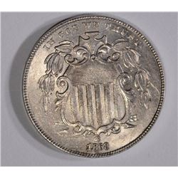 1868 SHIELD NICKEL AU/BU